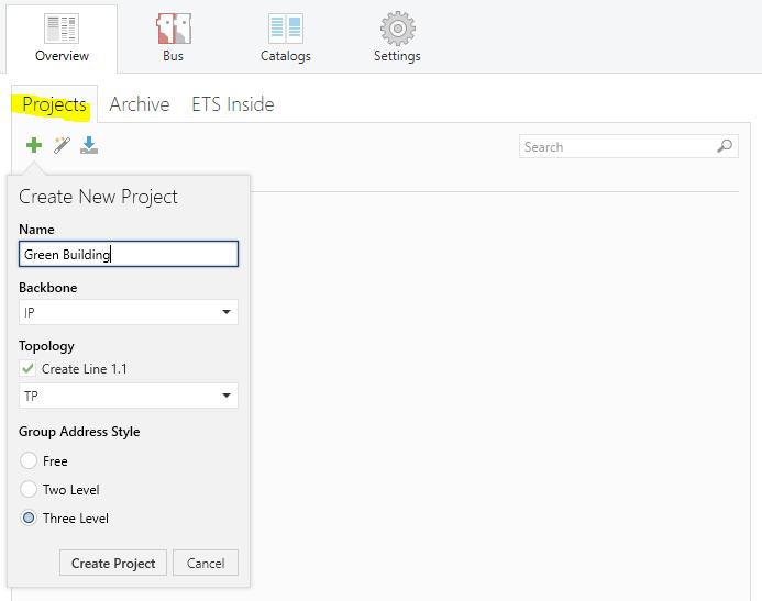 """Tạo """"dự án"""" mới trong ETS"""