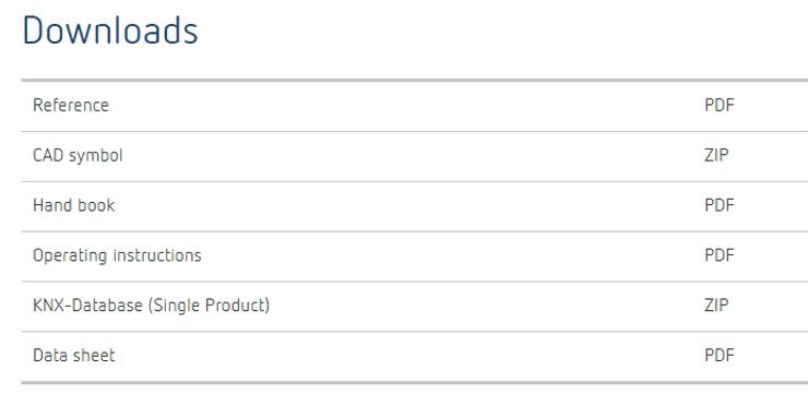 Tải về file KNX Database từ website của nhà cung cấp